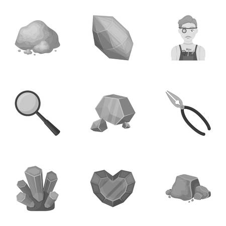 A set of jewelry, crystals, minerals and expensive metals. The jeweler inspects the ornaments.Precious minerals amd jeweler icon in set collection on monochrome style vector symbol stock illustration.