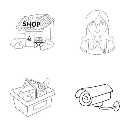mujer en el supermercado: Salesman, woman, basket, plastic .Supermarket set collection icons in outline style vector symbol stock illustration web.