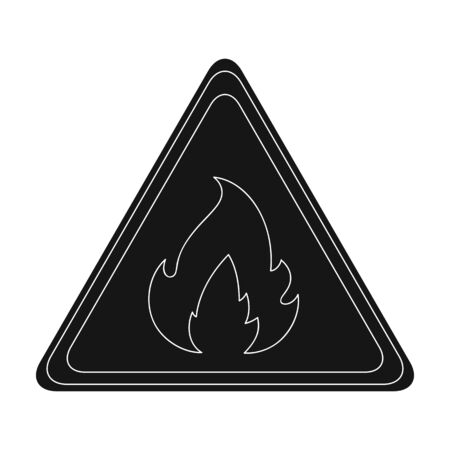 Sign of flammability.Oil single icon in black style vector symbol stock illustration web. Ilustração