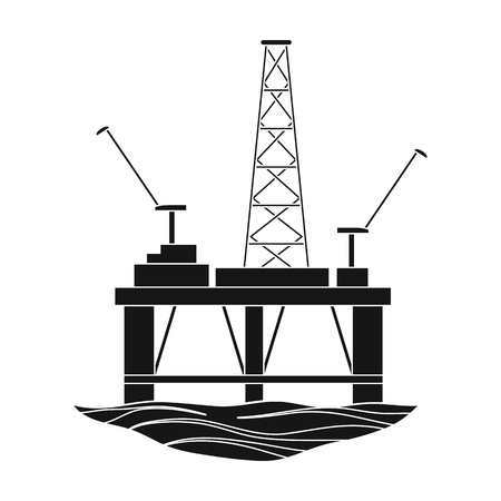 Oil rig on the water.Oil single icon in black style vector symbol stock illustration web. Illustration