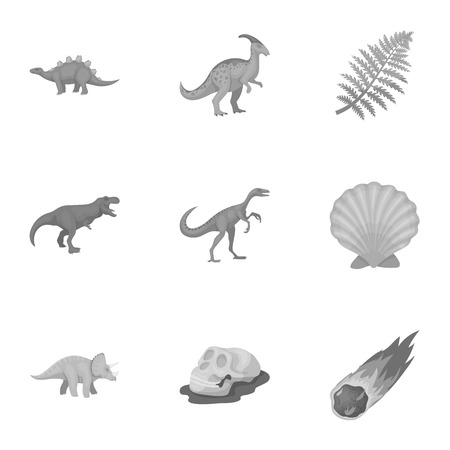 tyrannosaurs: Ancient extinct animals and their tracks and remains. Dinosaurs, tyrannosaurs, pnictosaurs.Dinisaurs and prehistorical icon in set collection on monochrome style vector symbol stock illustration. Illustration