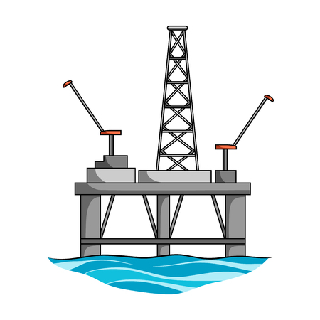 Oil rig on the water.Oil single icon in cartoon style vector symbol stock illustration web.
