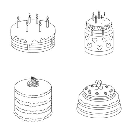 sweetness: Sweetness, dessert, cream, treacle .Cakes country set collection icons in outline style vector symbol stock illustration . Illustration