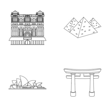 interesting: Building, interesting, place, palace .Countries country set collection icons in outline style vector symbol stock illustration .