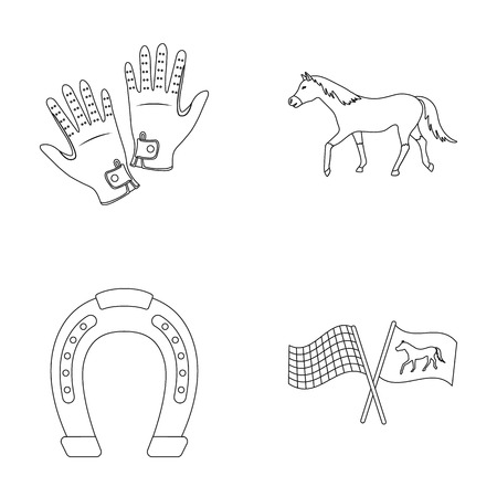 Race, track, horse, animal .Hippodrome and horse set collection icons in outline style vector symbol stock illustration . 向量圖像