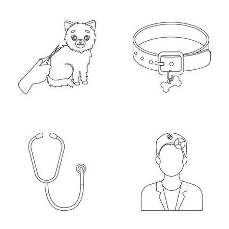 Collar, bone, cat, haircut .Vet Clinic set collection icons in outline style vector symbol stock illustration .