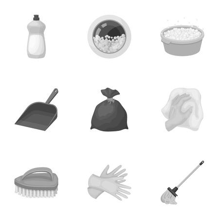 Schoonmaken, wassen en alles wat ermee te maken heeft. Een reeks pictogrammen voor het schoonmaken. Schoonmaak en meid pictogram in set collectie op zwart-wit stijl vector symbool stock illustratie.