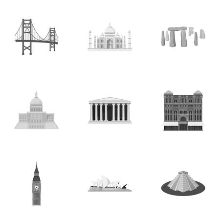 sights of moscow: Sights of the countries of the world. Famous buildings and monuments of different countries and cities. Countries icon in set collection on monochrome style vector symbol stock illustration.