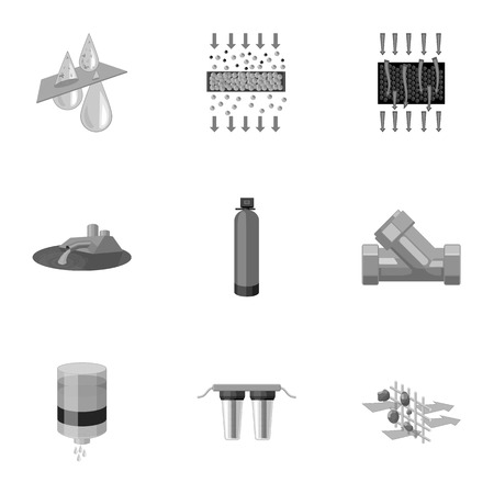 hydroelectric: Set of icons on the theme of water. Water is the most important in the world. water filtration icon in set collection on monochrome style vector symbol stock illustration.