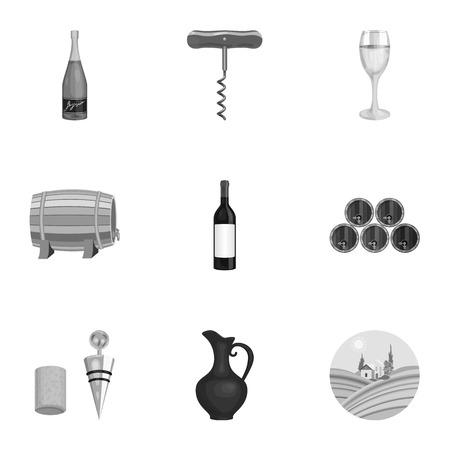ワイン製品。成長のブドウ、ワイン。モノクロ スタイル ベクトル シンボル ストック イラストをセットのコレクションのつる生産アイコン。