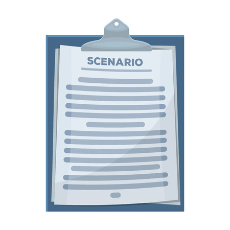 Scenario.Making movie single icon in cartoon style vector symbol stock illustration . Çizim