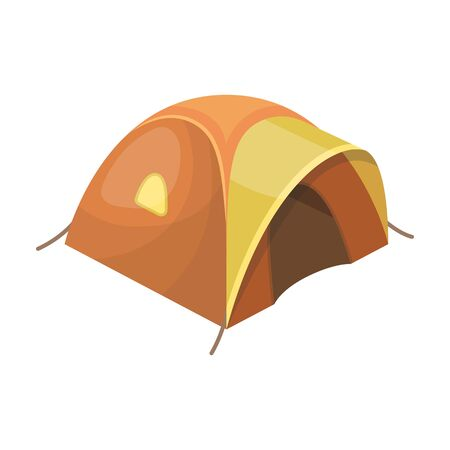 Tent tourist with awning.Tent single icon in cartoon style vector symbol stock illustration . Illustration