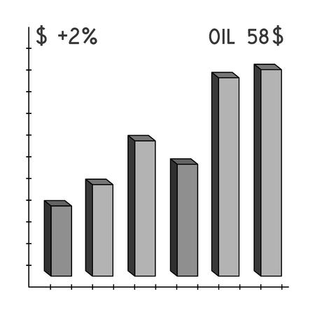 price drop: Oil price chart.Oil single icon in monochrome style vector symbol stock illustration . Illustration