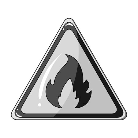 Sign of flammability.Oil single icon in monochrome  vector symbol stock illustration . Stock Photo