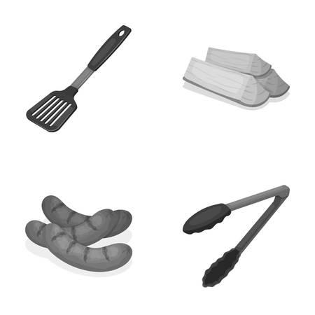Bladkeuken, brandhout, worsten en andere voor barbecue. BBQ vastgestelde inzamelingspictogrammen in het zwart-wit Web van de de voorraadillustratie van het stijl vectorsymbool.