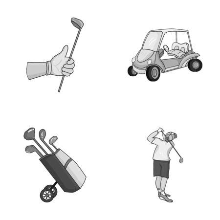 스틱, 골프 카트, 가방에 막대기로 트롤리 가방, 막대기로 망치로 낀 사람과 낀 손. 골프 클럽 세트 단색 스타일 컬렉션 아이콘 벡터 기호 재고 일러스