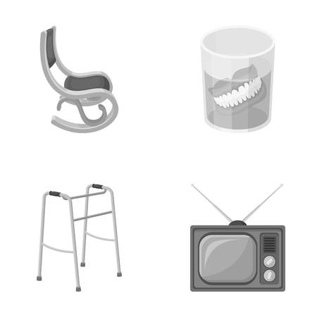 Denture, rocking chair, walker, old TV.Old age set collection icons in monochrome style vector symbol stock illustration web.