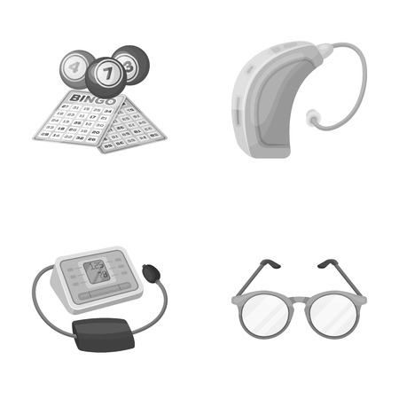 Lottery, hearing aid, tonometer, glasses.Old age set collection icons in monochrome style vector symbol stock illustration web. Illustration