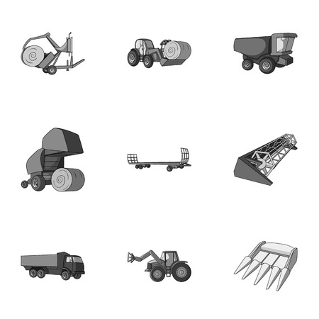 bales: Set of pictures about agricultural machinery. Cars to robots to the ground.Agricultural Machinery icon in set collection on monochrome style vector symbol stock illustration. Illustration