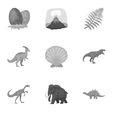 Les anciens animaux éteints et leurs traces et les restes. Dinosaures, tyrannosaures, pnictosaurs.Dinisaurs et icône préhistorique dans la collection sur le symbole vectoriel de style monochrome illustration stock.