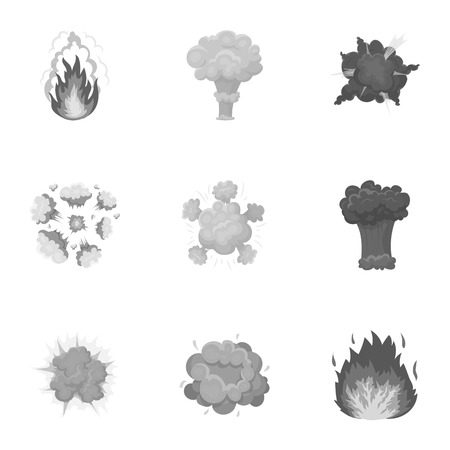 A set of icons about the explosion. Various explosions, a cloud of smoke and fire.Explosions icon in set collection on monochrome style vector symbol stock illustration. 向量圖像