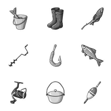 Summer and winter fishing, outdoor recreation, fishing, fish.Fishing icon in set collection on monochrome style vector symbol stock illustration.