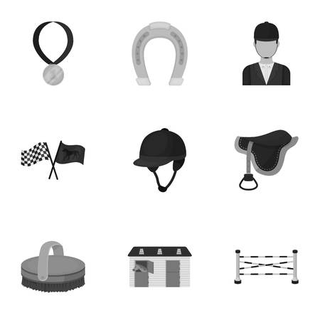 horse care: Races on horseback, hippodrome. Horse racing and equipping riders.Hippodrome and horse icon in set collection on monochrome style vector symbol stock illustration.