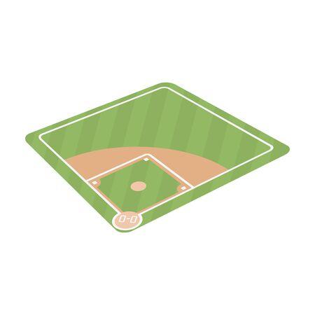 棒球法院。棒球单图标在卡通风格矢量符号股票插图web。