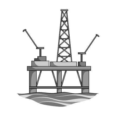 Oil rig on the water.Oil single icon in monochrome style vector symbol stock illustration web. Illustration