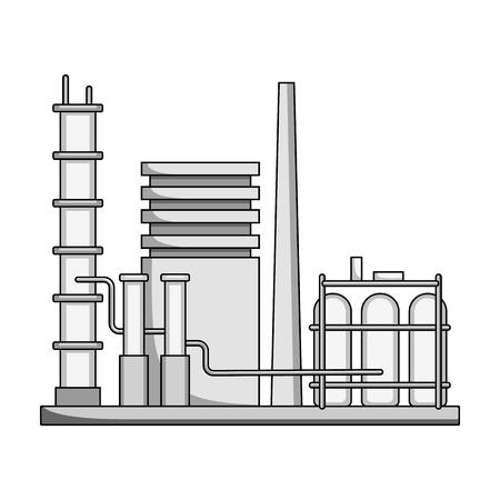 distillery: Refinery.Oil single icon in monochrome style vector symbol stock illustration web. Illustration