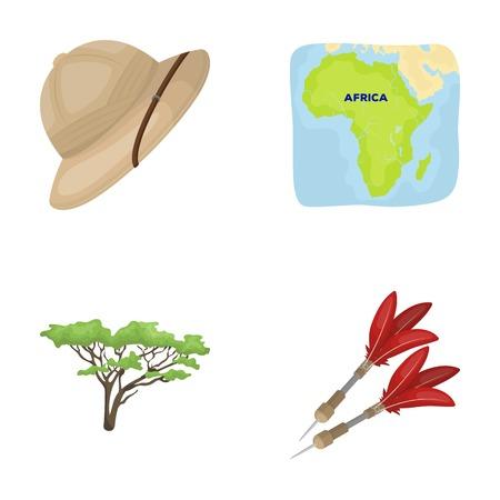 pastime: Cork hat, darts, savannah tree, territory map. African safari set collection icons in cartoon style vector symbol stock illustration web.