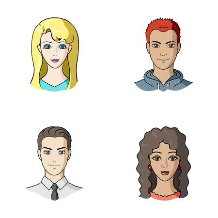 Different looks of young people.Avatar and face set collection icons in cartoon style vector symbol stock illustration web. Ilustracja