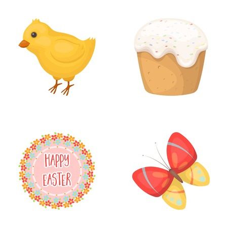 cupcakes isolated: Easter cake, chicken, butterfly and greeting sign, easter set collection icons in cartoon style vector symbol stock illustration web. Illustration