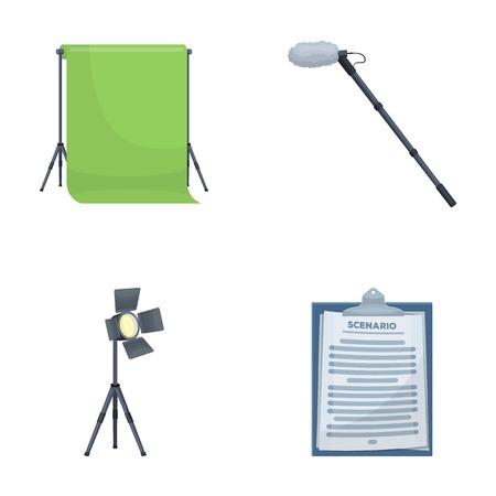 Het maken van films instellen collectie iconen in cartoon stijl vector symbool stock illustratie web.