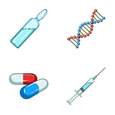 Human DNA and other equipment.Medicine set collection icons in cartoon style vector symbol stock illustration web.