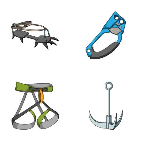 strapping: Hook, mountaineer harness, insurance and other equipment.Mountaineering set collection icons in cartoon style vector symbol stock illustration web.