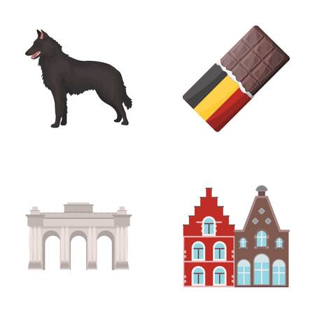 Chocolate, cathedral and other symbols of the country.Belgium set collection icons in cartoon style vector symbol stock illustration . Illustration