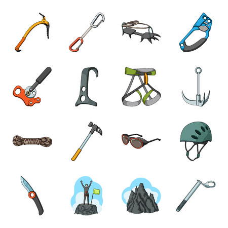 Ice ax, conquered top, mountains in the clouds and other equipment for mountaineering.Mountaineering set collection icons in cartoon style vector symbol stock illustration web.