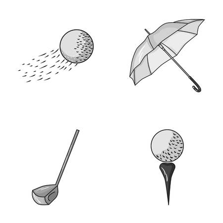 ball pen: A flying ball, a yellow umbrella, a golf club, a ball on a stand. Golf Club set collection icons in monochrome style vector symbol stock illustration web. Illustration