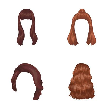 Long, red and other types of hairstyles. Back hairstyle set collection icons in cartoon style vector symbol stock illustration web. Illustration