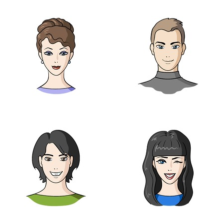 appearance: Different looks of young people.Avatar and face set collection icons in cartoon style vector symbol stock illustration web. Illustration