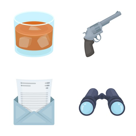 shadowing: A glass of whiskey, a gun, binoculars, a letter in an envelope.Detective set collection icons in cartoon style vector symbol stock illustration web. Illustration
