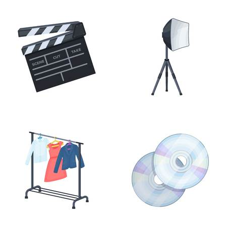 hangers: Movies, discs and other equipment for the cinema. Making movies set collection icons in cartoon style vector symbol stock illustration web. Illustration