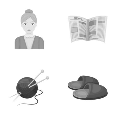 An elderly woman, slippers, a newspaper, knitting.Old age set collection icons in monochrome style vector symbol stock illustration web.
