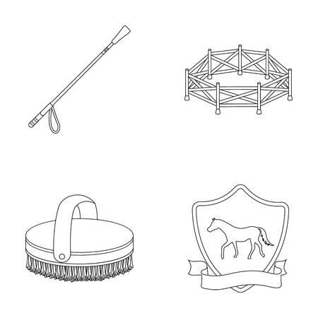 Volière, ransel, embleem, renbaan Hippodrome en paard vastgestelde inzamelingspictogrammen in van de het symboolvoorraad van de overzichtsstijl vector de illustratieweb. Stock Illustratie