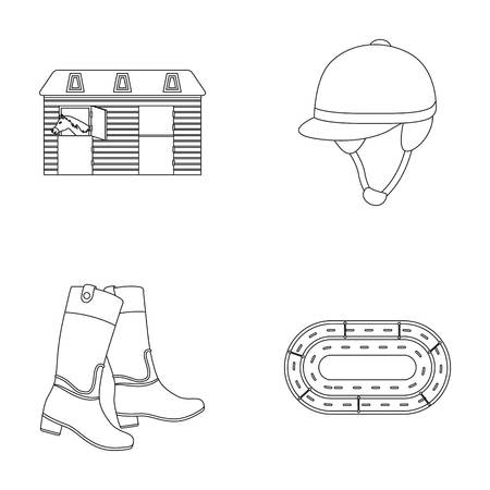 racing sign: Boots, grass, stadium, track, rest .Hippodrome and horse set collection icons in outline style vector symbol stock illustration web. Illustration