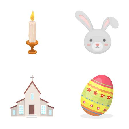 Church, Candle, Easter Bunny And Painted Egg.Easter Set Collection Icons In  Cartoon Home Design Ideas