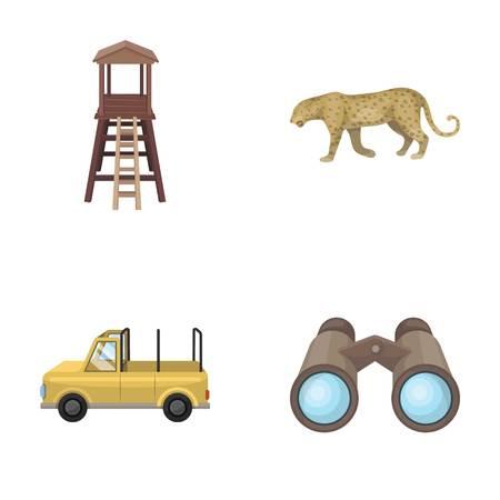 Tour d'observation pour le chasseur, le léopard, la machine à chasser, les jumelles. African safari set collection icons in cartoon style vecteur symbole stock illustration web.