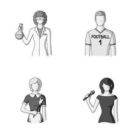 Woman chemist, football player, hotel maid, singer, presenter.Profession set collection icons in monochrome style vector symbol stock illustration web. Illustration