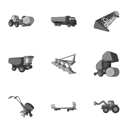 hayride: Set of pictures about agricultural machinery. Cars to robots to the ground.Agricultural Machinery icon in set collection on monochrome style vector symbol stock illustration. Illustration